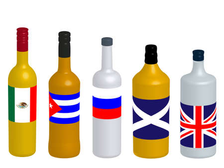 distilled: Different Kinds of Spirits Bottles with Flags 3D version 1