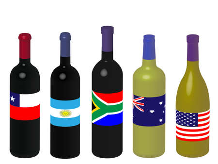 napa: Wines of the World Bottles with Flags