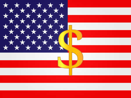 deregulation: Dollar Currency Sign on the center of the United States Flag