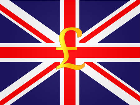 deregulation: Pound Currency Sign on the center of the United Kingdom Flag
