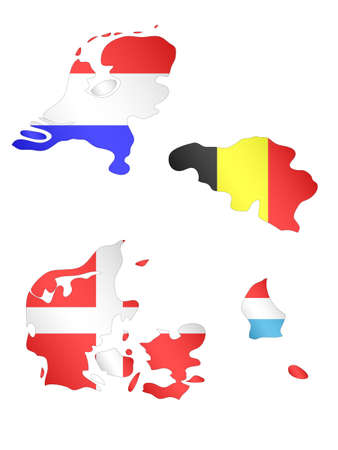 compatriot: Europe Maps with Flags 3 EPS 10 Illustration