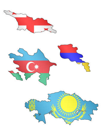 yerevan: Europe Maps with Flags 14 Illustration