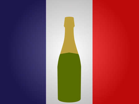 french flag: French Flag with a Bottle of Champagne EPS10