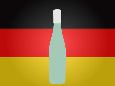 German Flag with a Bottle of Wine EPS10 Ilustrace