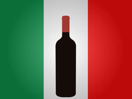Italian Flag with a Bottle of Wine EPS10
