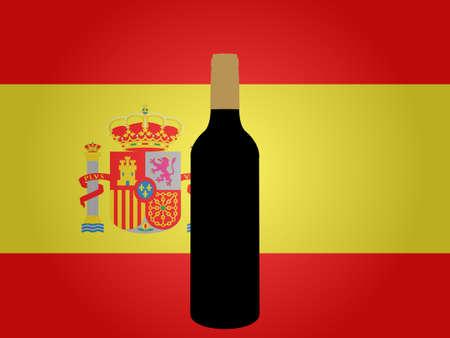 bandiera spagnola: Bandiera spagnola con una bottiglia di vino EPS10 Vettoriali