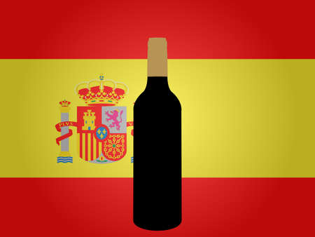 Spanish Flag with a Bottle of Wine EPS10 Vector
