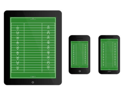 scrimmage: Mobile Devices with American Football Field Black Illustration