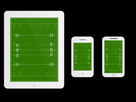 scrimmage: Mobile Devices with Rugby Field White