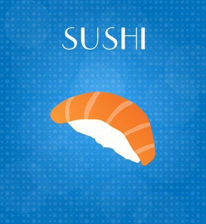 craving: Food Menu Sushi with Blue Background EPS10 Illustration
