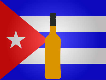 cuban flag: Cuban Flag with a Bottle of Rum EPS10