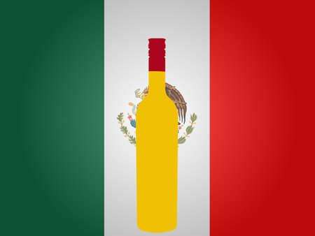 mexican flag: Bandiera messicana con una bottiglia di Tequila EPS10