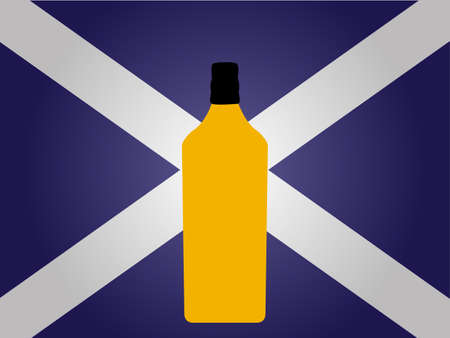 shooters: Scottish Flag with a Bottle of Whiskey EPS10 Illustration
