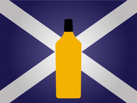 the hangover: Scottish Flag with a Bottle of Whiskey EPS10 Illustration