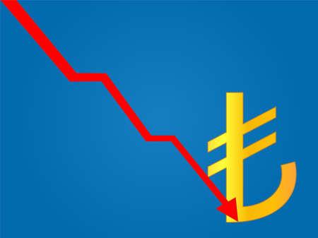 Currency Crisis Turkish Lira Illustration
