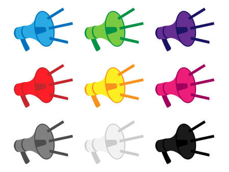 Megaphone Icons in Different Colours with Sound Lines Ilustrace
