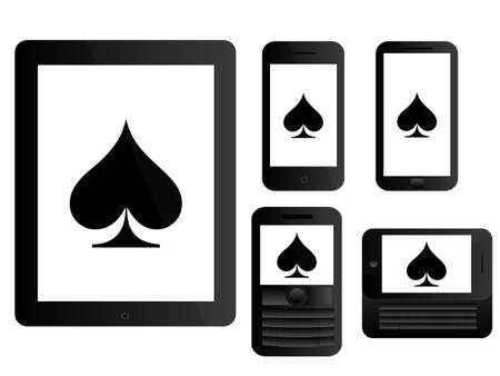 computer art: Mobile Devices with Poker Clubs Black