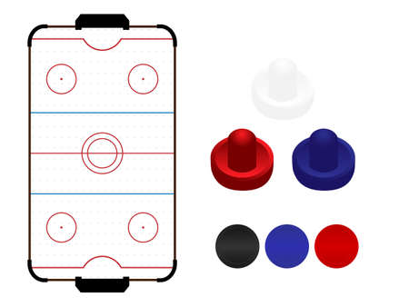 hockey: Air Hockey Table with Mallets and Pucks Illustration