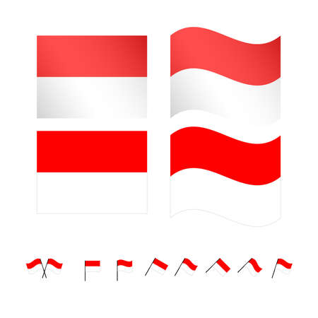 10: Indonesia Flags EPS 10 Illustration