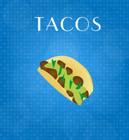 craving: Food Menu Tacos with Blue Background EPS10