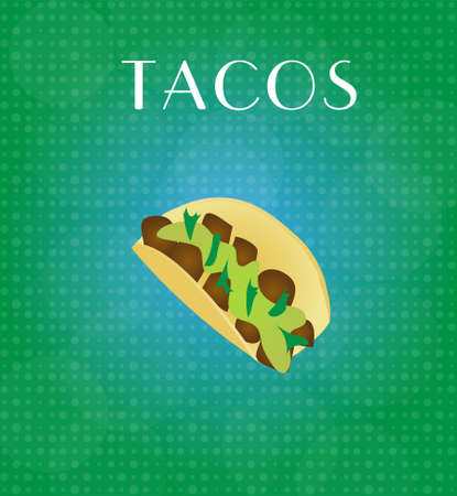 cilantro: Food Menu Tacos with Green & Blue Background EPS10