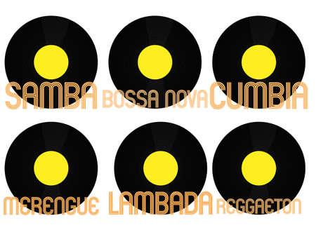 genres: Latin Music Genres Vinyl 7 Illustration