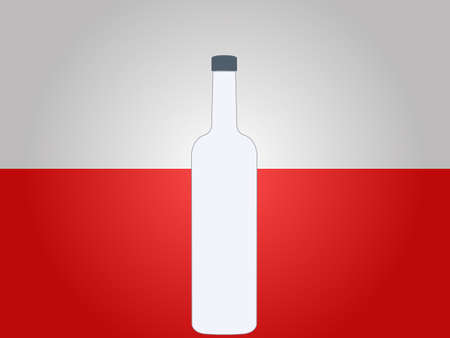 highball: Polish Flag with a Bottle of Vodka EPS10