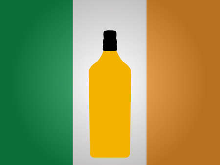 tonic: Irish Flag with a Bottle of Whiskey EPS10