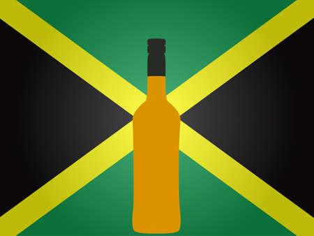 jamaican: Bandera de Jamaica con una botella de ron EPS10