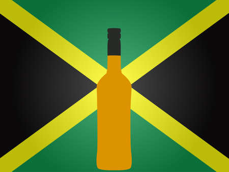 jamaican flag: Jamaican Flag with a Bottle of Rum EPS10