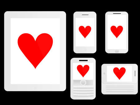 media gadget: Mobile Devices with Poker Hearts White