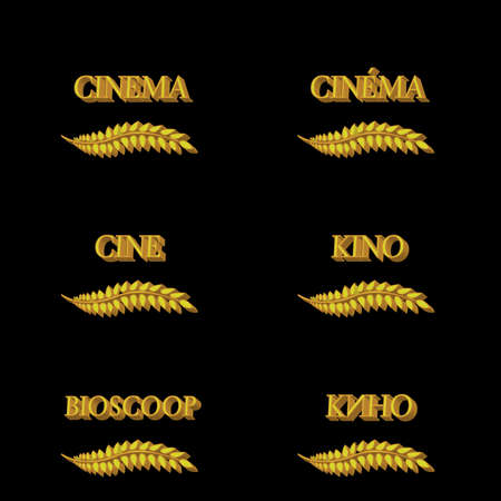 Cinema Laurels in Different Languages 3D 4 Illustration