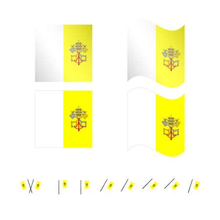 Vatican City Flags EPS 10 Illustration