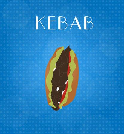 Food Menu Kebab with Blue Background EPS10