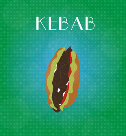 craving: Food Menu Kebab with Green & Blue Background EPS10 Illustration