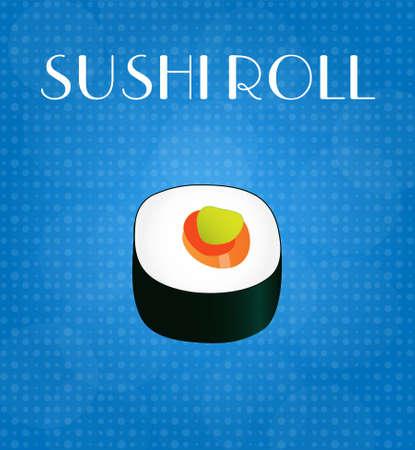 sushi roll: Alimenti Menu Sushi Roll con sfondo blu EPS10