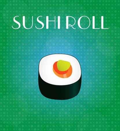 sushi roll: Alimenti Menu Sushi Roll con Green & Blue Background EPS10 Vettoriali