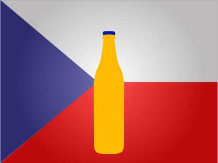czech flag: Bandiera della Repubblica Ceca con una bottiglia di birra EPS10