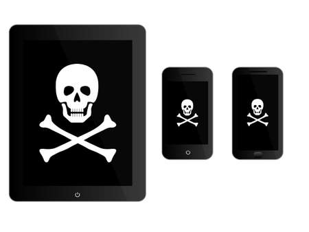 loot: Black Mobile Devices with Pirate Sign