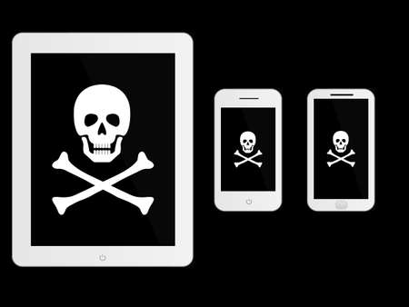 loot: White Mobile Devices with Pirate Sign