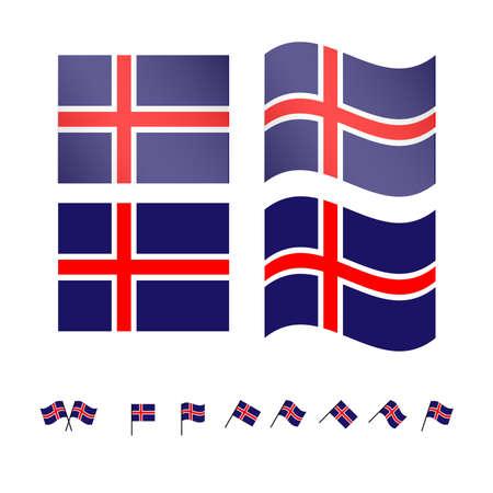 Island Flaggen-EPS-10 Standard-Bild - 35373625