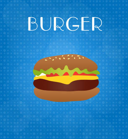 ground beef: Food Menu Burger with Blue Background EPS10