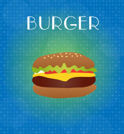 ground beef: Food Menu Burger with Blue & Golden Background EPS10 Illustration