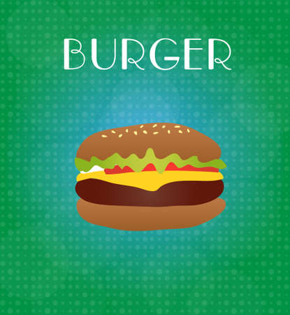 ground beef: Food Menu Burger with Green & Blue Background EPS10