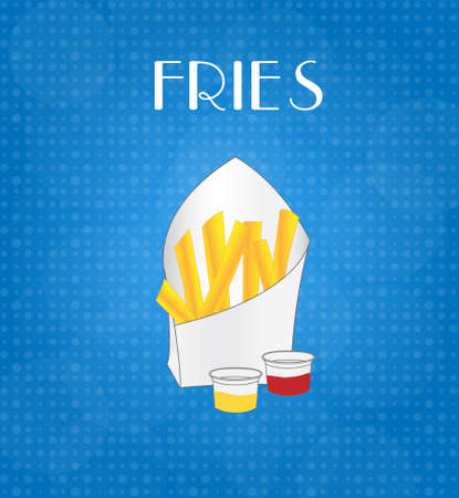 craving: Food Menu Fries with Blue Background EPS10