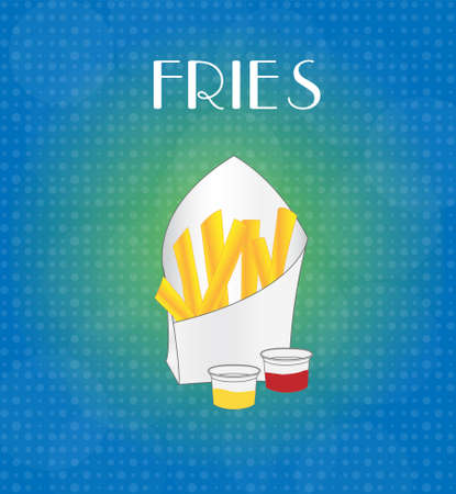 Food Menu Fries with Blue & Golden Background EPS10