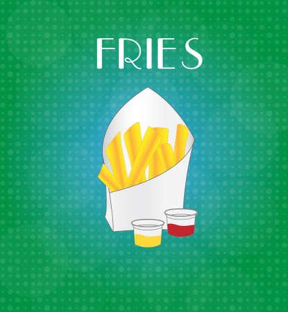 craving: Las patatas fritas Alimentos Men� con EPS10 verde y azul de fondo