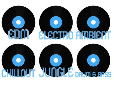 Electronic Music Genres Vinyl 5 Illustration