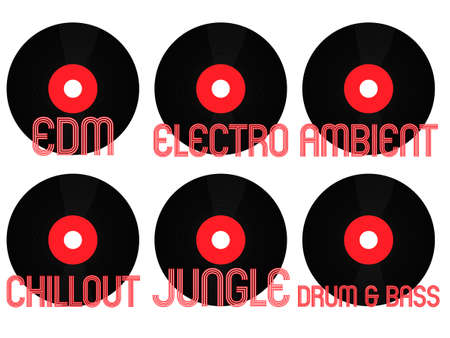 electronic music: Electronic Music Generi Vinyl 6 Vettoriali