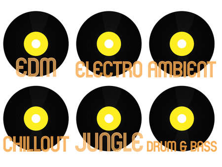 electronica: Electronic Music Genres Vinyl 7 Illustration